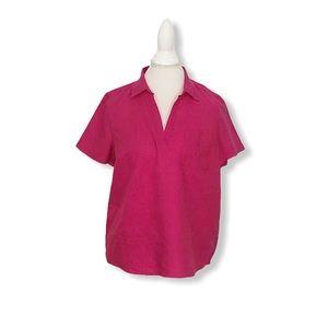 J. Crew Popover Linen Shirt Top Short Sleeves M